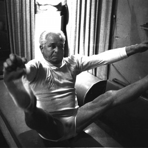 NEW YORK - OCTOBER 1961: Joe Pilates, Inventor, physical fitness guru and founder of the Pilates exercise method demonstrates his techniques in his 8th Avenue studio on October 4, 1961 in New York City, New York. (Photo by I.C. Rapoport/Getty Images)